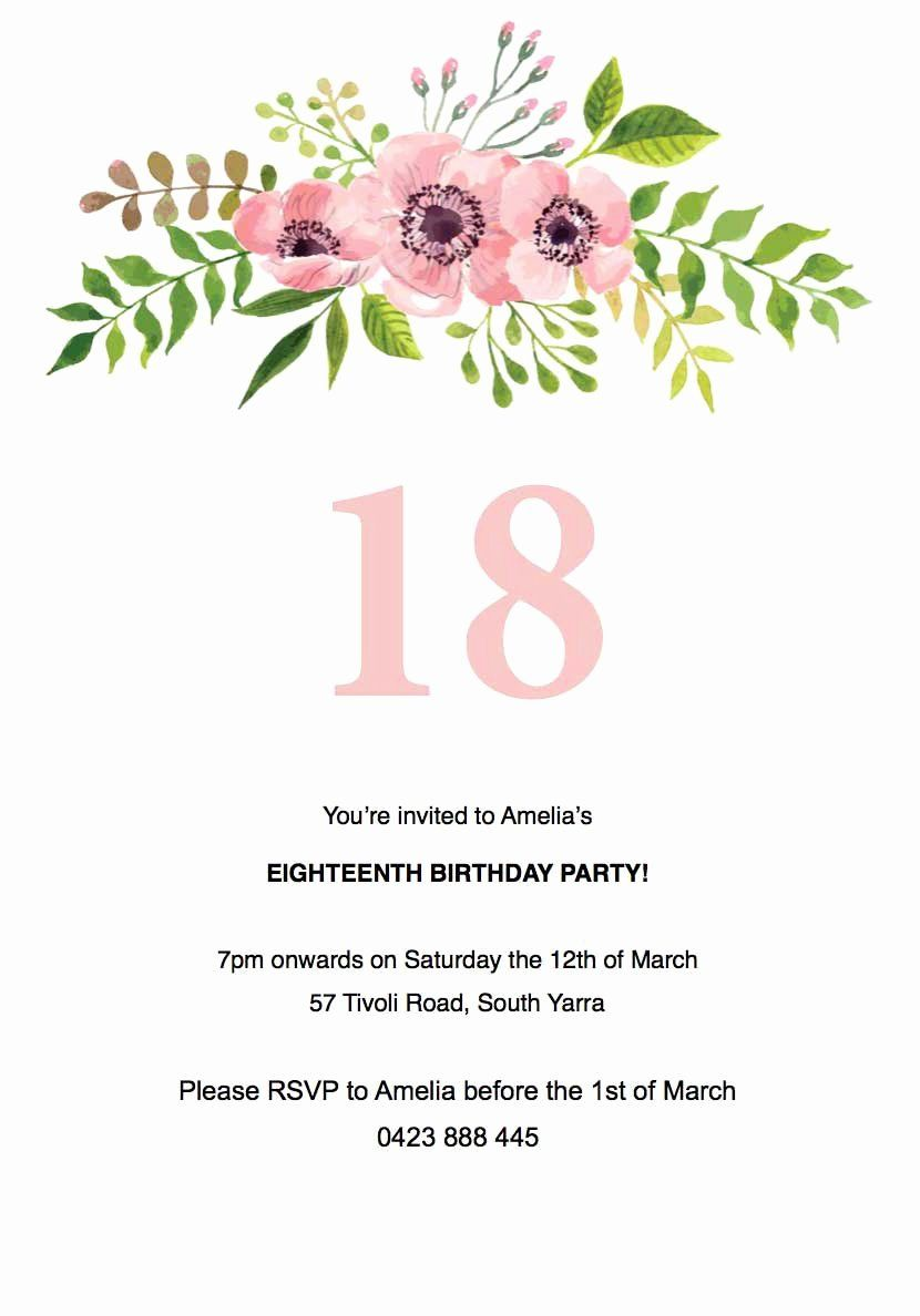 Free Party Invitation Templates Lovely Floral Birthday Invitation Temp Invitation Card Birthday Birthday Party Invitation Templates Floral Birthday Invitations