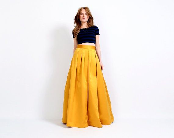 1b2cbec9c vintage Yellow HIGH WAISTED Maxi Skirt S/M Satin ball gown marigold gold  cocktail full long 80s
