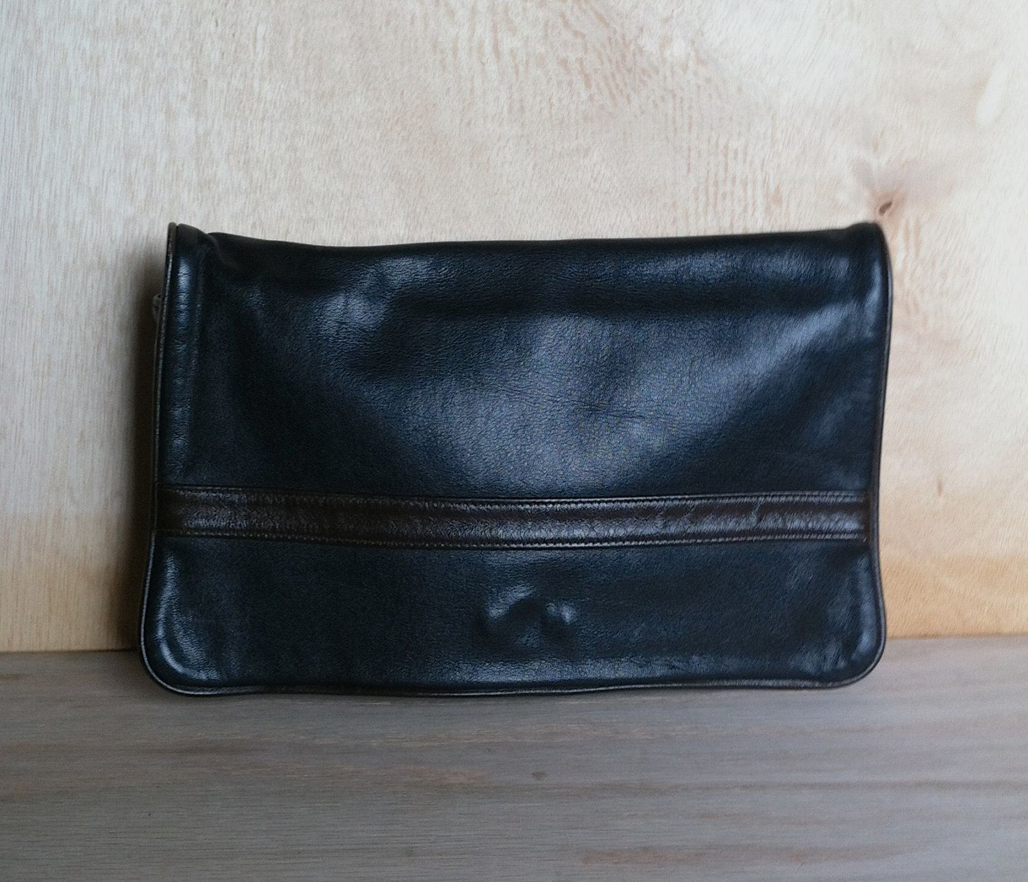 Vintage 1980s Black and Brown Leather Clutch Purse Hand bag by ForestaVintage on Etsy