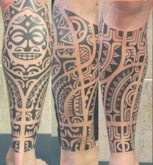 tatouage pour l 39 homme sur le mollet et la tibia de style notamment polyn sien tattoo. Black Bedroom Furniture Sets. Home Design Ideas