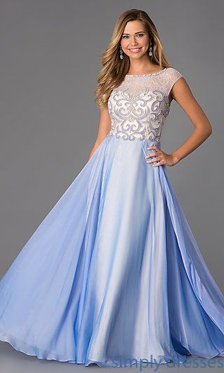 Floor Length Cap Sleeve Dress by Dave and Johnny at SimplyDresses.com