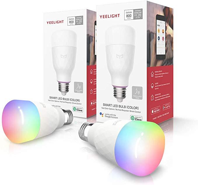 2 Pack Yeelight Smart Light Bulb Multicolor Dimmable App