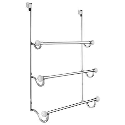 Interdesign York Over Shower Door Towel Rack 3 In White And Chrome 73410 The Home Depot Towel Rack Shower Doors Towel Bar