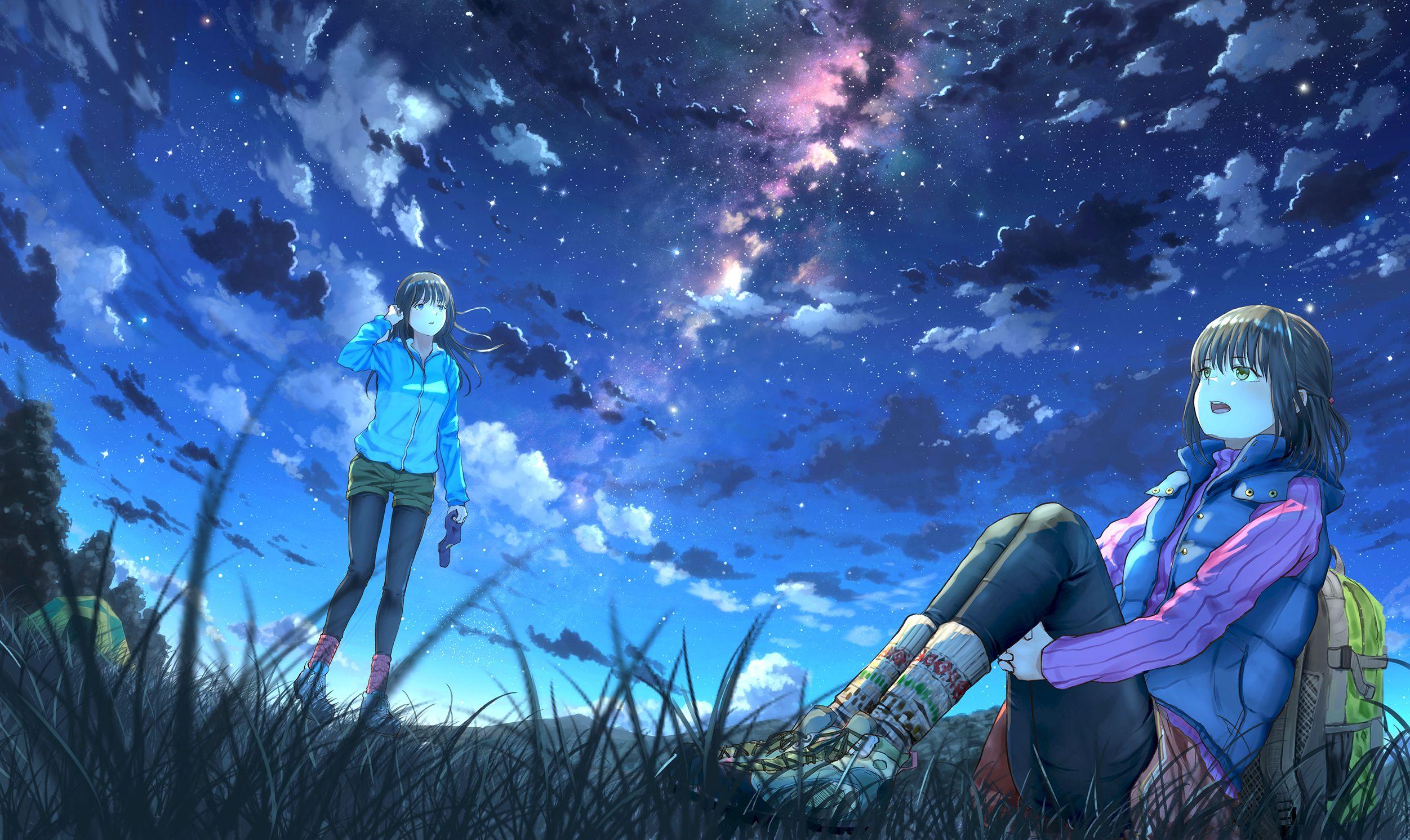Anime 2503x1491 Sky Anime Night Anime Girls Stars Sky Anime Anime Scenery Superhero Wallpaper