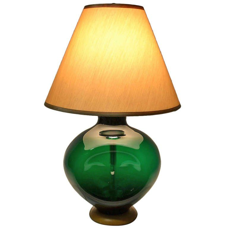 Blenko Pinch Form Emerald Green Table Lamp Green Table Lamp Table Lamp Green Lamp