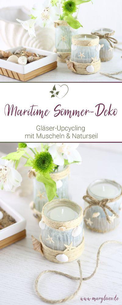 Upcycling-Idee: Maritime Sommerdeko mit Muscheln aus alten Gläsern gestalten - #diy #diydeko #upcycling #upcyclingdeko #sommerdeko #diywindlichter #maritim #maritimewindlichter #diyblumenvasen