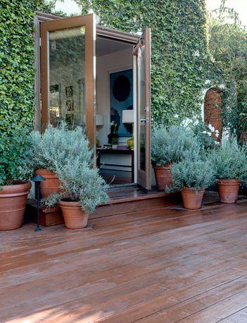 terra cotta + wood deck + ivy  // Great Gardens & Ideas //