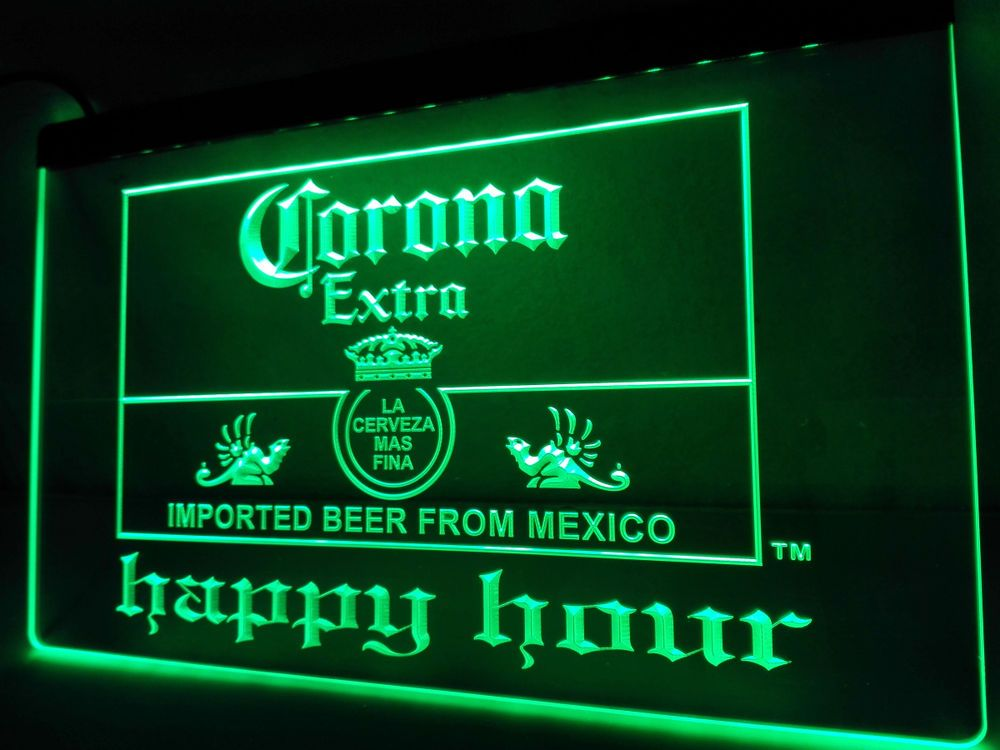 Led Sign Home Decor Magnificent La611 Corona Extra Beer Happy Hour Bar Led Neon Light Sign Home Decorating Design