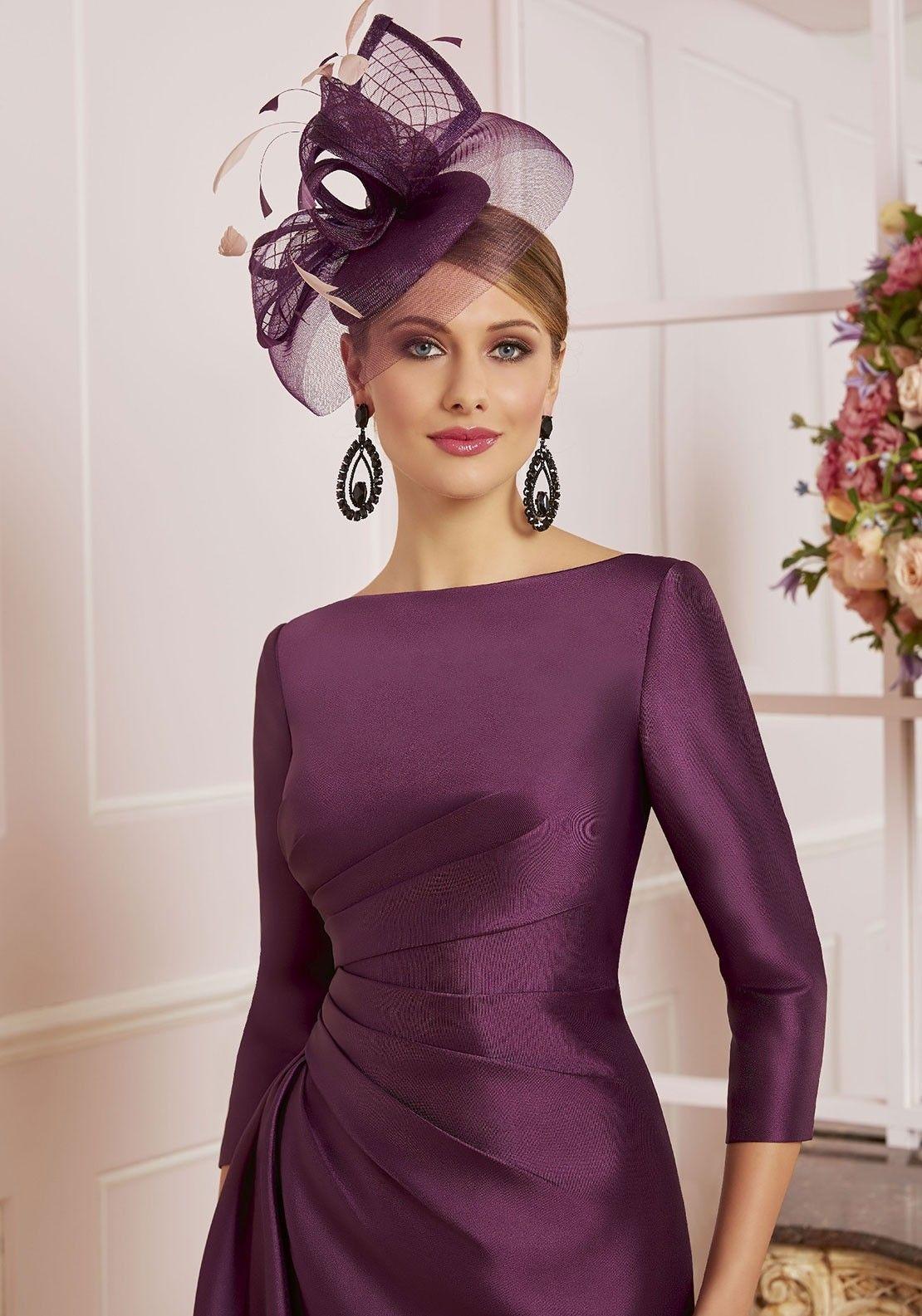 Veni Infantino For Ronald Joyce Mikado Satin Dress Aubergine Evening Gown Dresses Occasion Dresses Wedding Guest Dresses [ 1585 x 1110 Pixel ]