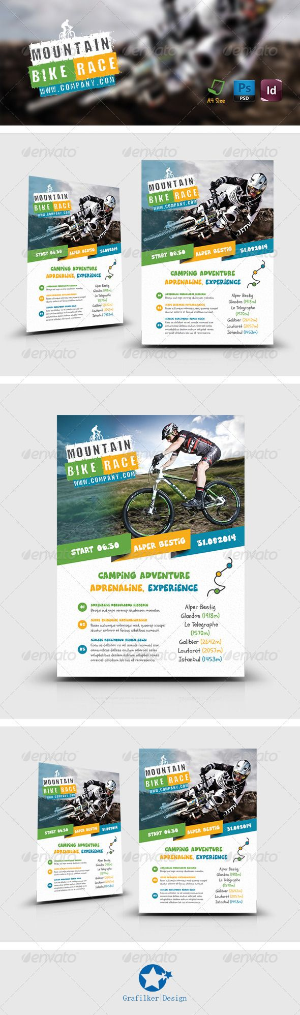 Bicycle Racing Flyer Templates   Soccer, Parasailing and Tent