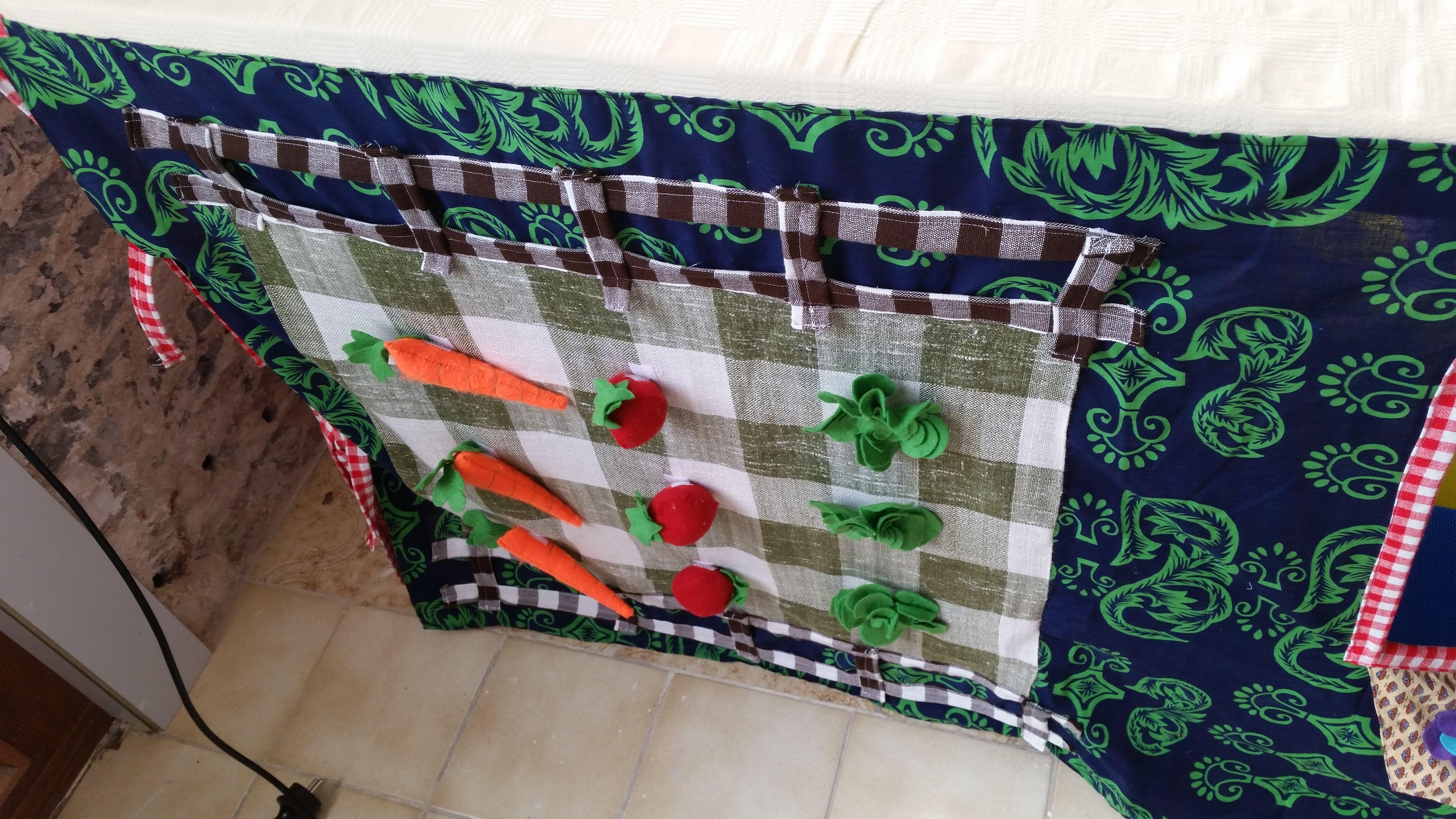Moestuin met Sla, aardbei en wortel in vilt met velcro