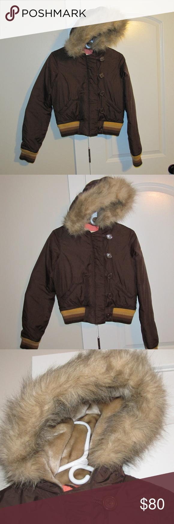Hollister Women's Hooded Jacket Vintage Sz.LFUR