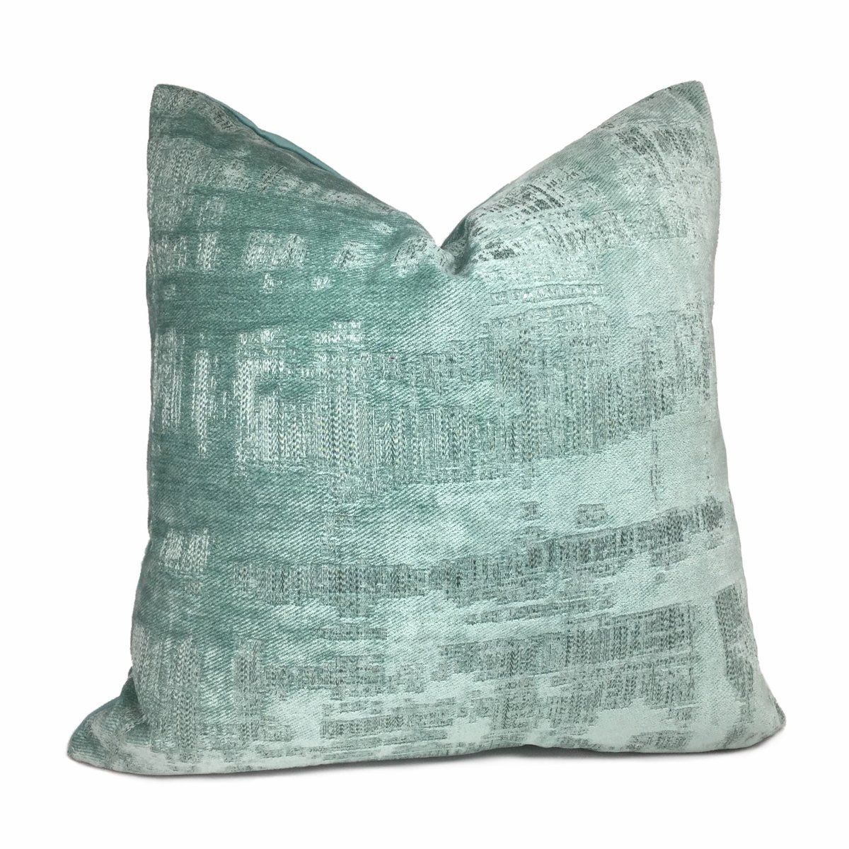 Seafoam Green Abstract Patina Chenille Texture Pillow Cover