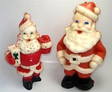 """Lot of 2 VINTAGE GURLEY CHRISTMAS SANTA CLAUS CANDLES 9"""" & 7"""" Unused 1940s-1960s"""
