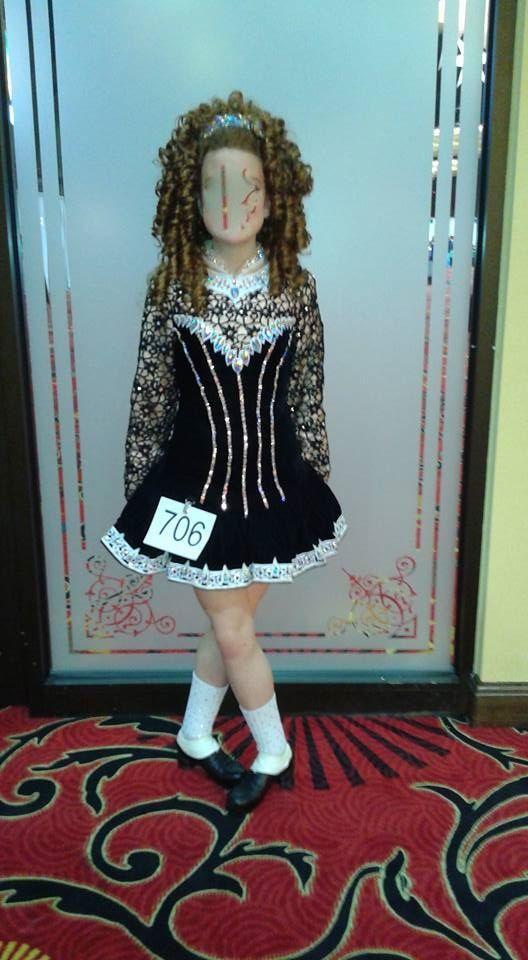 Exquisite Black Irish Dance Dress Solo Costume For Sale