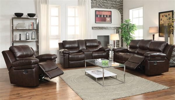 Xenos Dark Brown Faux Leather Metal Wood Motion Living Room Set