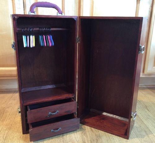 American Girl Doll Wood Wardrobe Carry Case Armoire Trunk Cabinet Closet  Dresser Https://