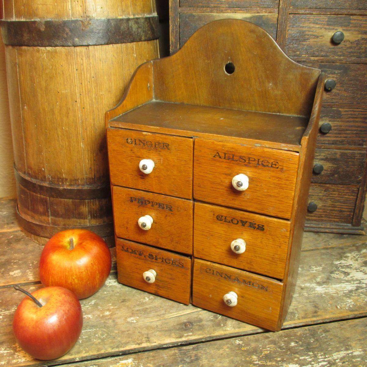 Grandma's Sweet Old Antique Six Drawer 'Pure Food' Spice Chest Cabinet - 1800's - Golden Oak #HannahsHouseAntiques #Primitives https://www.rubylane.com/item/497177-9464/Grandmax27s-Sweet-Antique-Six78-Drawer-x27Pure