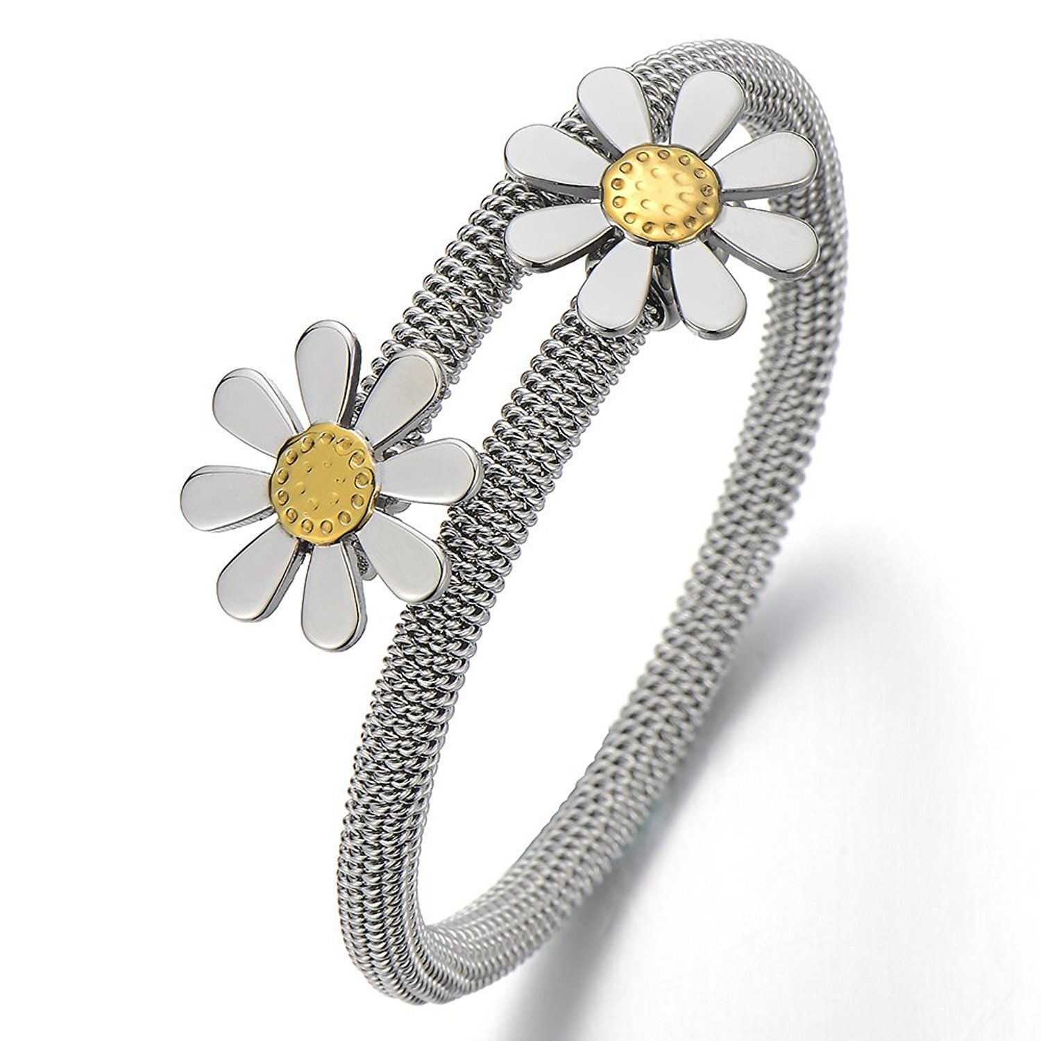 Ladies girls flower stainless steel cuff bangle bracelet silver gold