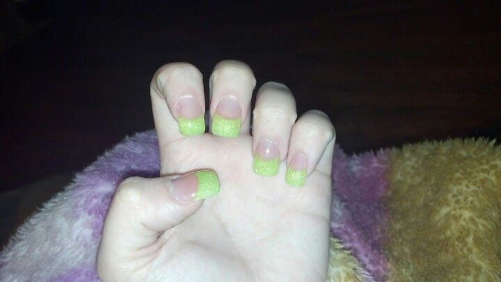 Lime green sparkly french tips:)