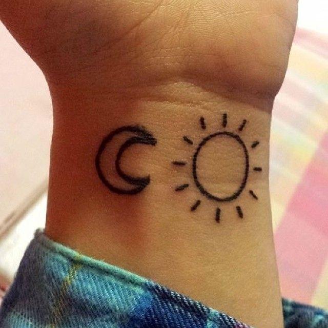 Simple Sun And Moon Tattoos On Wrist Tattoobite Com Simple Sun Tattoo Henna Tattoo Wrist Sun Tattoos