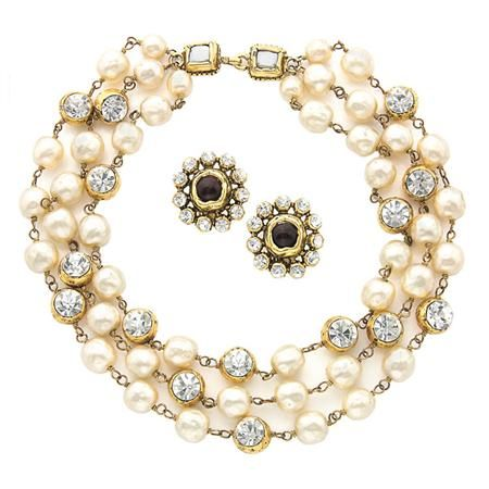 Chanel Triple Strand Choker And Pair Of Earrings 1985 The Necklace