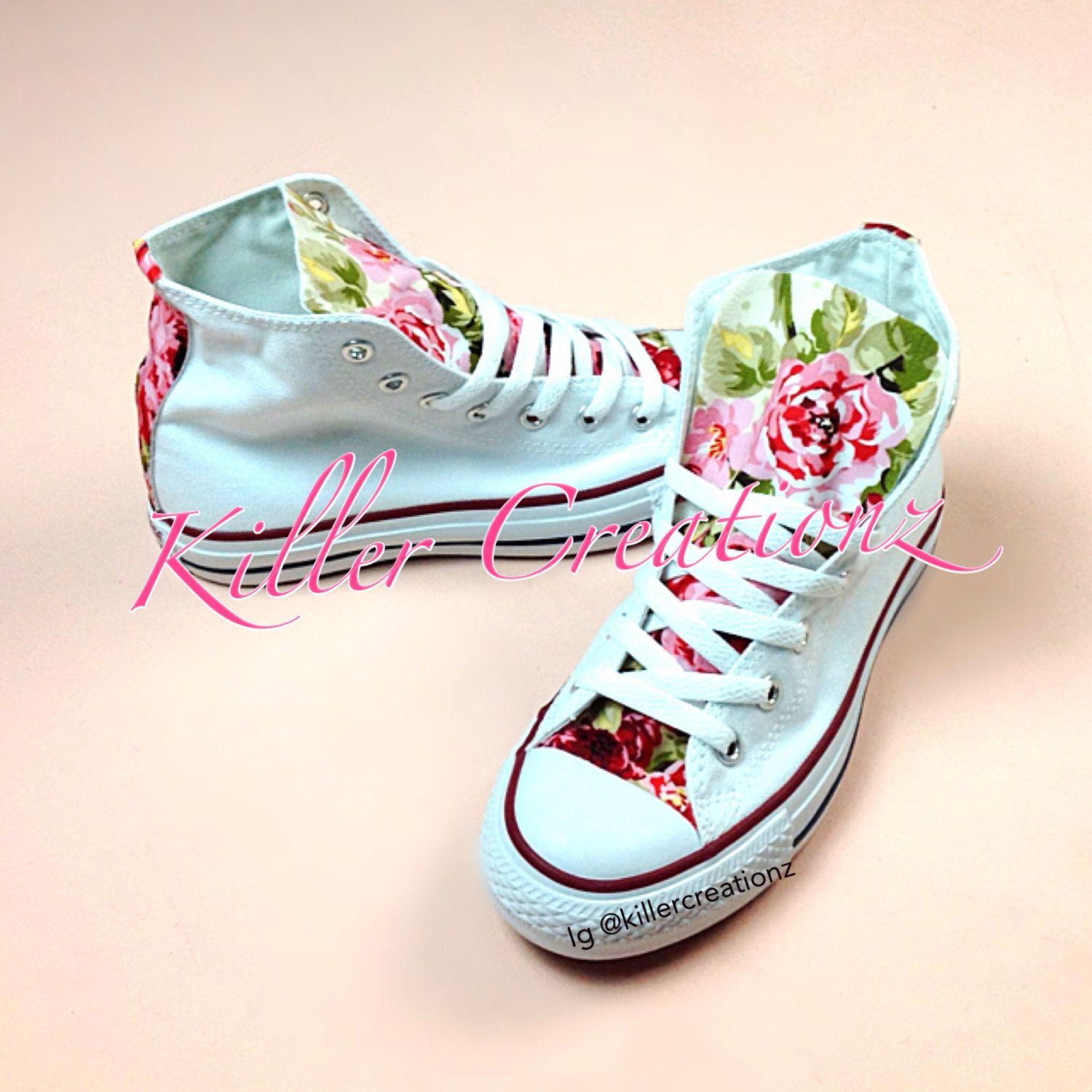 5618b9fdaf36 Custom+Floral+High+Top+Converse+made+to+order+by+KillerCreationz