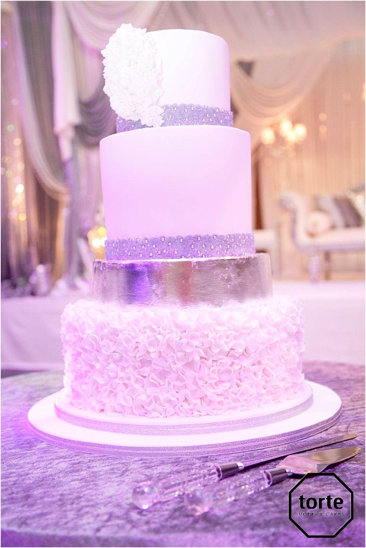 SILVER RUFFLE CORSAGE #wedding #cake #silver #thehilton ...