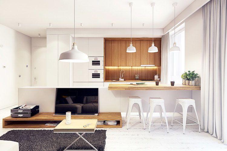 modle cuisine blanche plan de travail bois ouverte sur salon - Modele De Cuisine Blanche