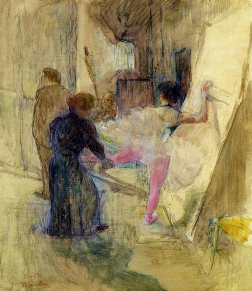 Behind the Scenes (c.1898-1899).Henri de Toulouse-Lautrec...