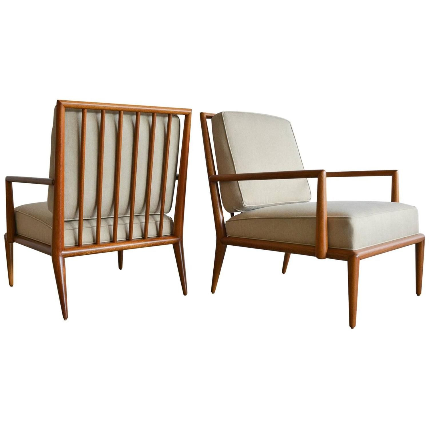 Pair Of T H Robsjohn Gibbings Spindle Back Lounge Chairs Circa  # Muebles Tio Sam