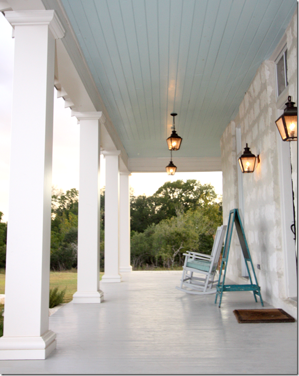 Porch In Boerne Tx Lovely Pale Blue Ceiling And Clean White Decking Columns