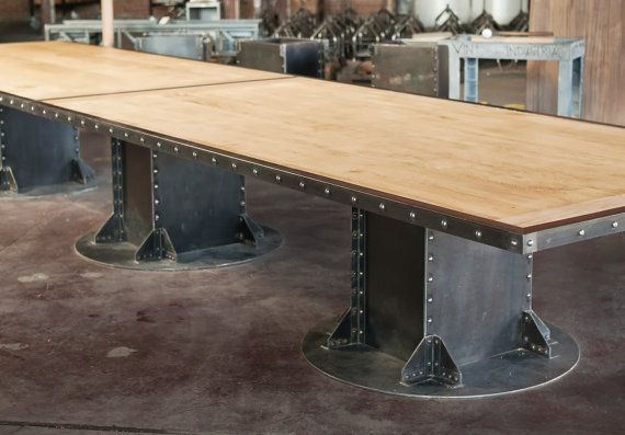 Vintage French Industrial Conference Table / Dining Table