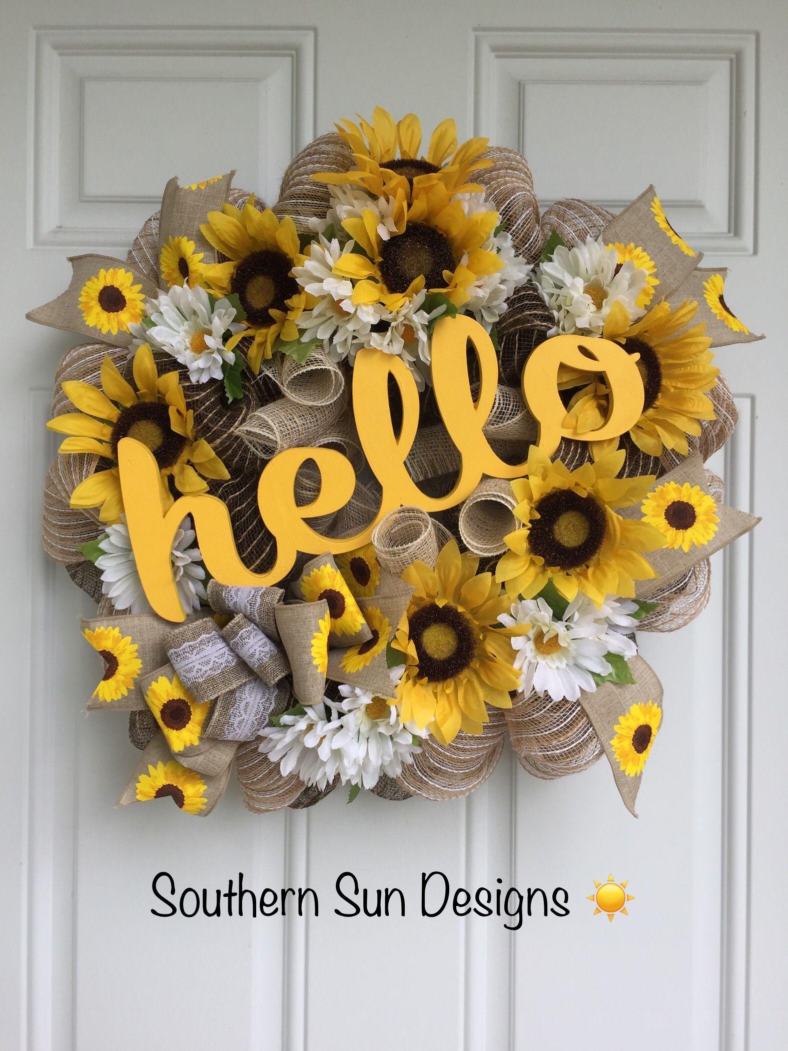 hello wreath Summer grapevine wreath floral grapevine wreath Bee grapevine wreath sunflower wreath Sunflower grapevine wreath