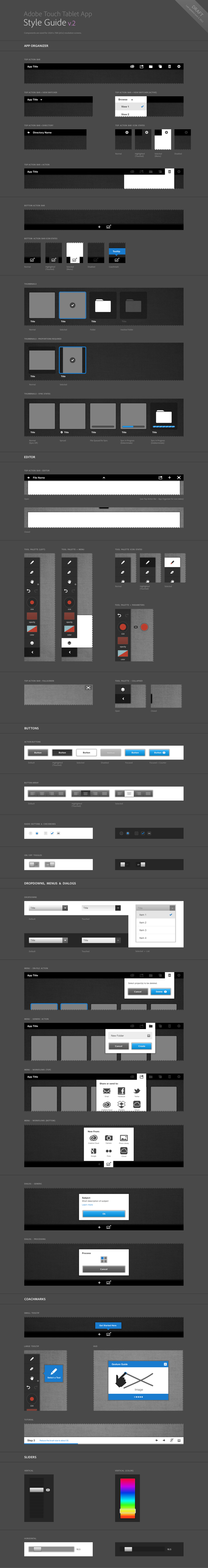 "Adobe Touch Tablet Style Guide *** ""Component sheet exploring v2 of Adobe's Touch Tablet UI language"" by Gabriel Campbell, via Behance *** #gui #adobe #tablet"