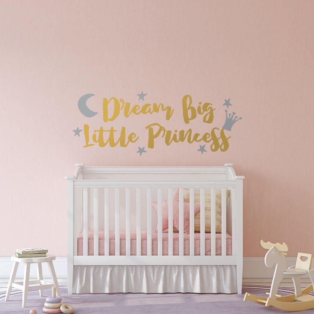 "DREAM BIG LITTLE GIRL Girls Bedroom Wall Art Decal 36/"""