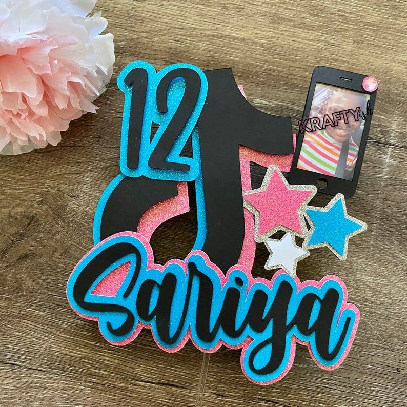Tik Tok Inspired Cake Topper Personalized And Can Change Etsy In 2021 Cake Banner Topper Cake Toppers Topper