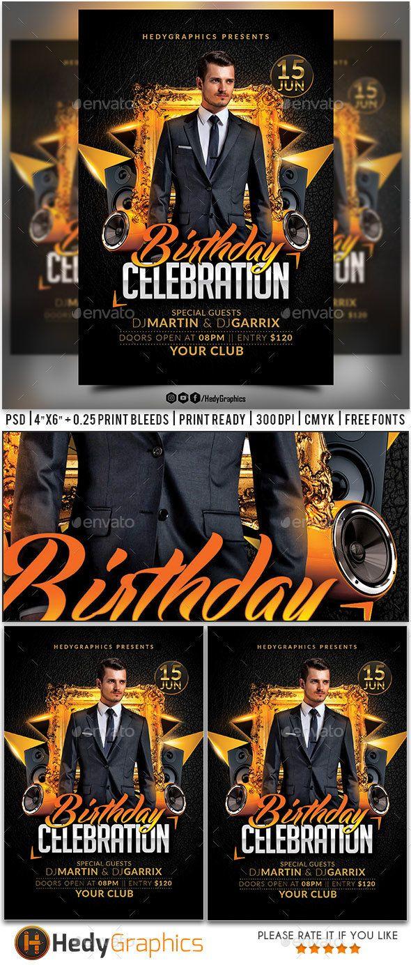 birthday celebration flyer template