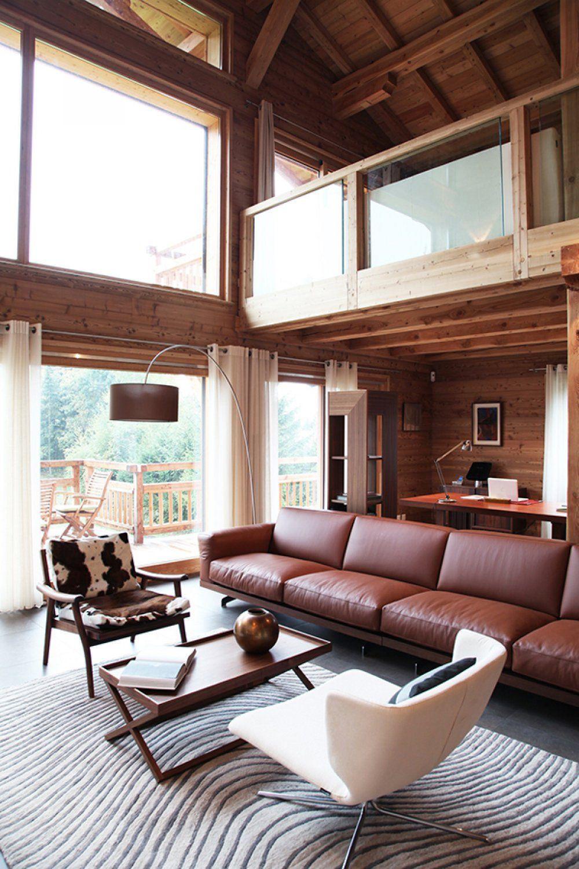 Maison Ossature Bois Suede salon - décoration d'intérieur maison ossature bois