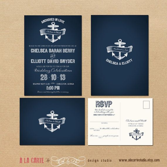 Nautical Anchor Wedding Invitation and RSVP by alacartestudio - wedding invitation samples australia