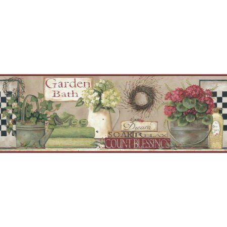 Garden Bath Wall Border Soft Linen Taupe Hint Of Red Green Black Beige Walmart Com Wallpaper Border York Wallpaper Wallpaper