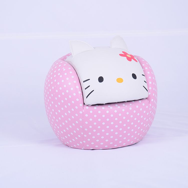 Recliner Sofa Contemporary Cat Face Children Ball Shape Sofa in Pink u White SXBB