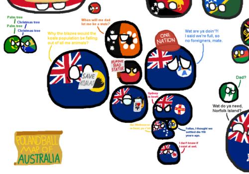 Cool Polandball Map of Australia via reddit | Poland ball