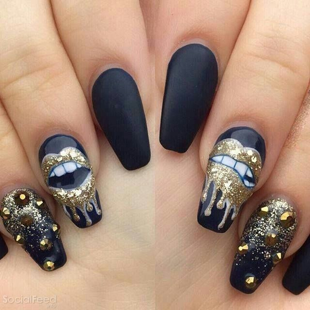 Love the design not the nail shape tho Nail Design, Nail Art, Nail Salon,  Irvine, Newport Beach - Pin By M W On Makeup/hair/nails Pinterest Makeup, Prom Nails And