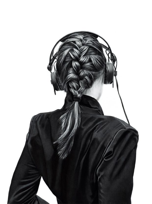 Charcoal Drawings By Yanni Floros Girls With Headphones Girl With Headphones Portrait Cool Braids