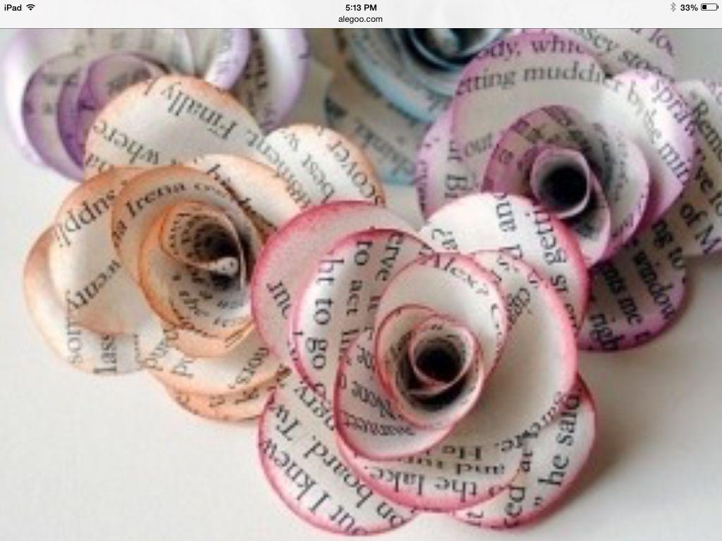 DIY newspaper flowers ( tips are painted )