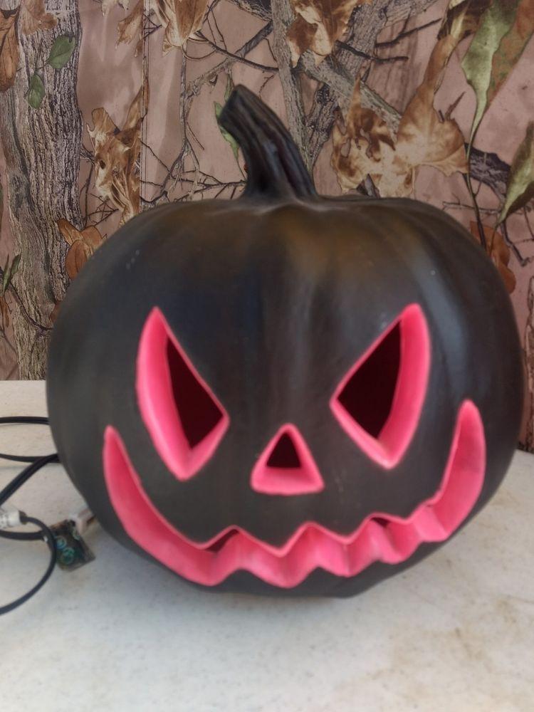 Black and hot pink blow mold lighted halloween pumpkin 8