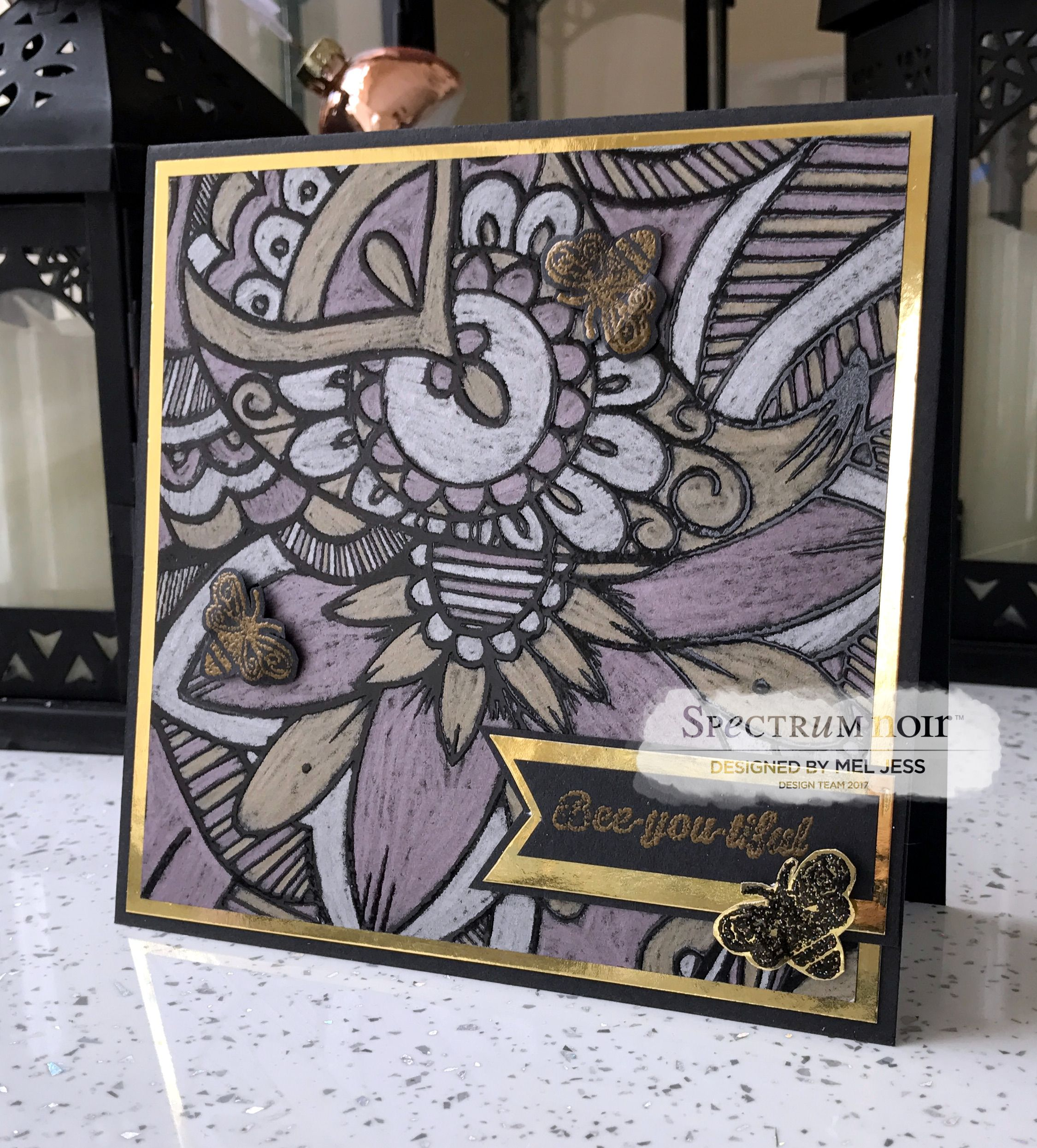 Bee-you-tiful Card made for Colorista Darks and Metallic Pencils by Mel Jess #crafterscompanion #spectrumnoir