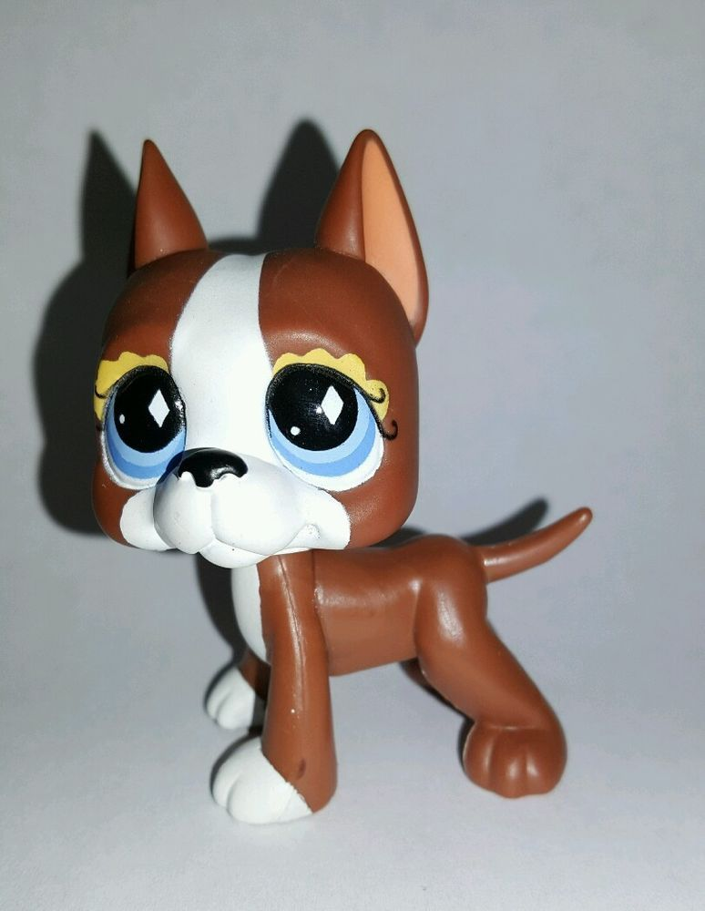 Littlest Pet Shop Dog Brown White Great Dane Blue Eyes 588