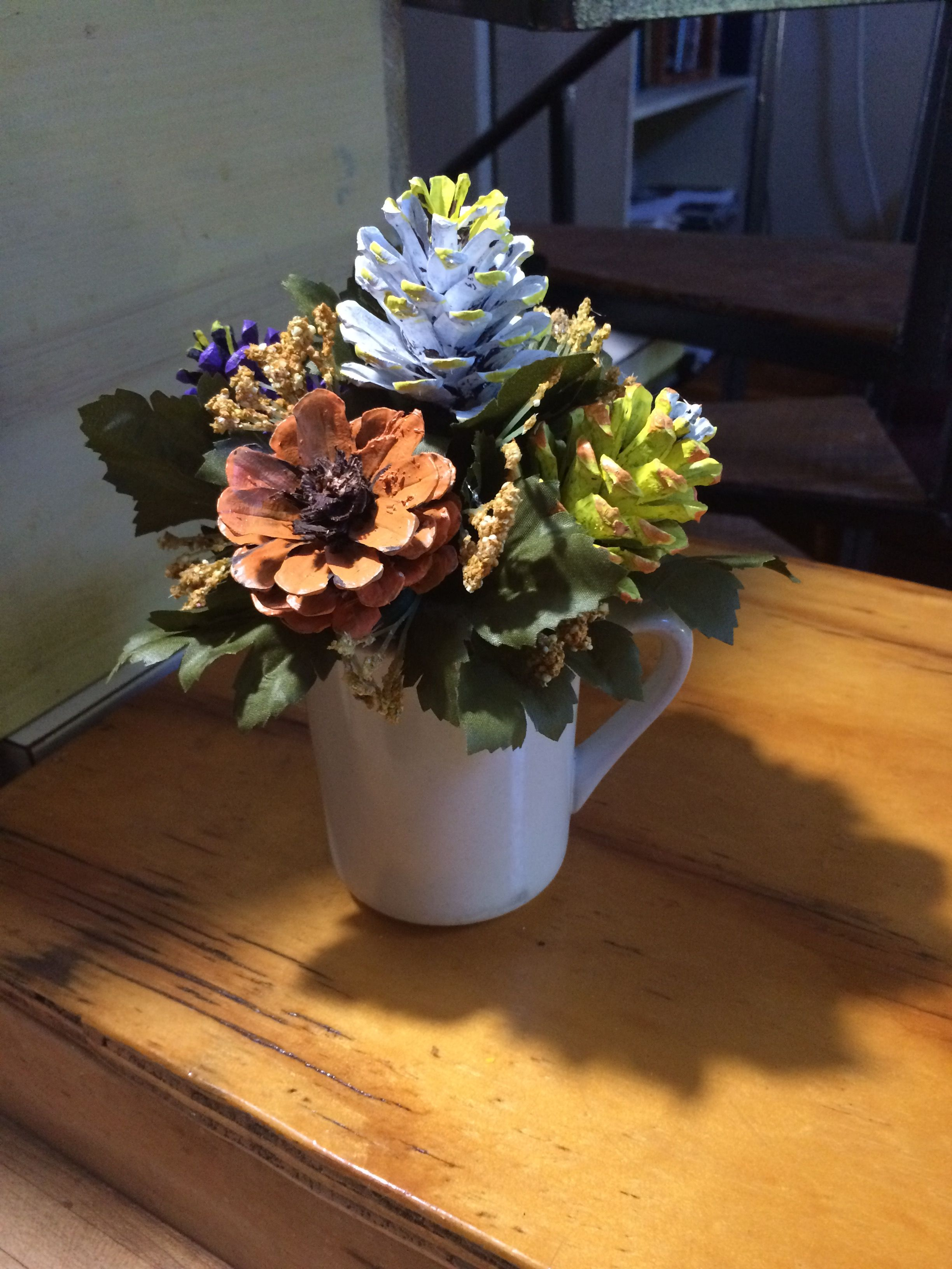 Pinecone Flower Arrangement By Cat Pine Cone Crafts Pine Cone Art Painted Pinecones